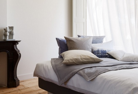 Christian Fischbacher Nordstrand A69 Sudstrand A628 percale overtrek wit,blauw,taupe,antraciet