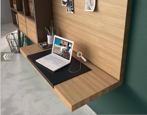 hulsta bureauwand met boekenkastlade met kabelgoot kleur natuurlijk eiken