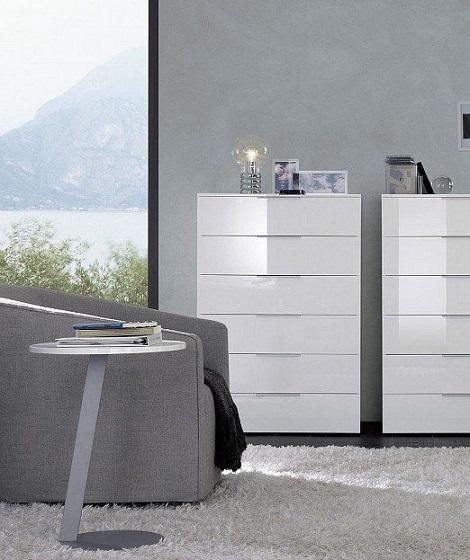 Jesse Stage,hoogglans wit ladekast met 6 laden, Italiaans Design