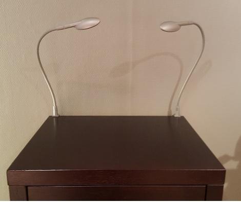 bedlamp met ledlicht te bevestigen aan hoofdbord of nachtkast minet