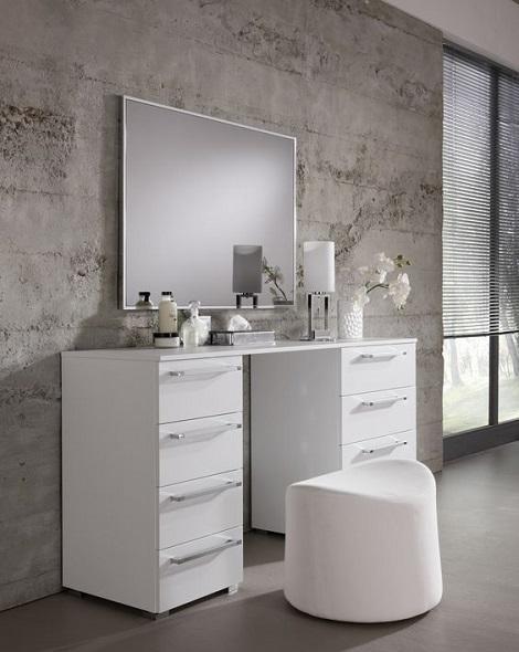 Hoogglans Witte Kaptafel.Eiken Kaptafel Of Make Up Tafel Met Eiken Make Up Spiegel Led
