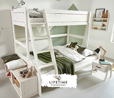 LIFETIME Familybed : stapelbed ,logeerbed, 90x200,140x200 cm