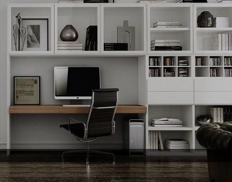 Bureau en kledingkast in 1: witte kledingkasten evt samen met banken