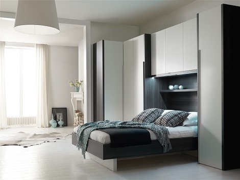 SMART Cocoon 1 bed bovenkamer met kastjes hoekkast wit grijze eik 90 ...